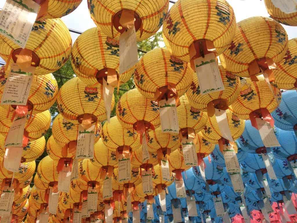 Beautiful paper lanterns in the temples of Gyeongju