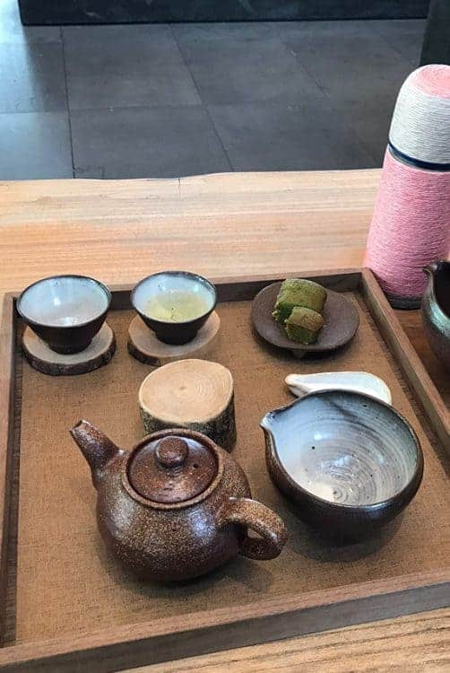Delicious green tea snacks and beverages