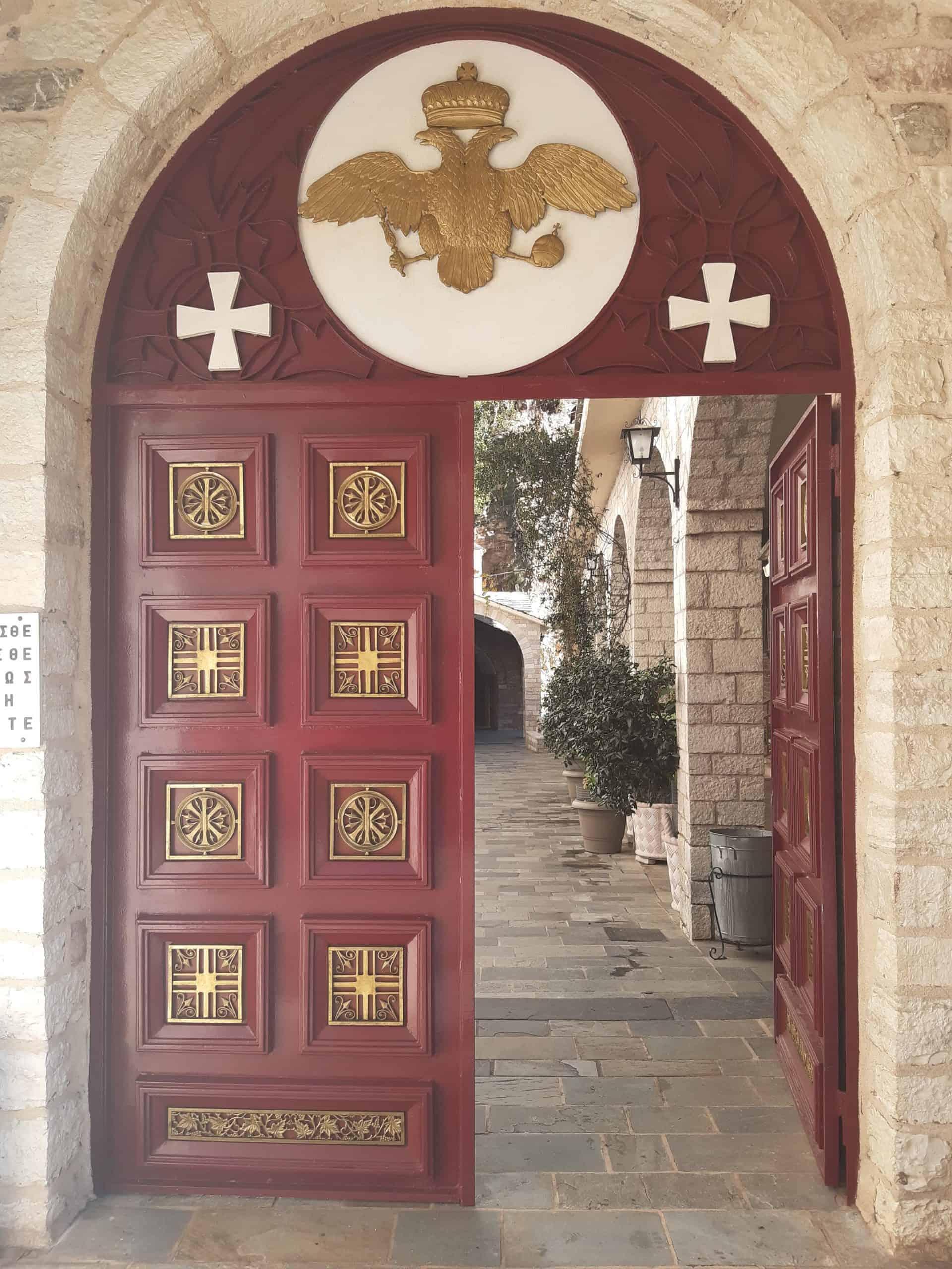 Entering Proussous Monastery