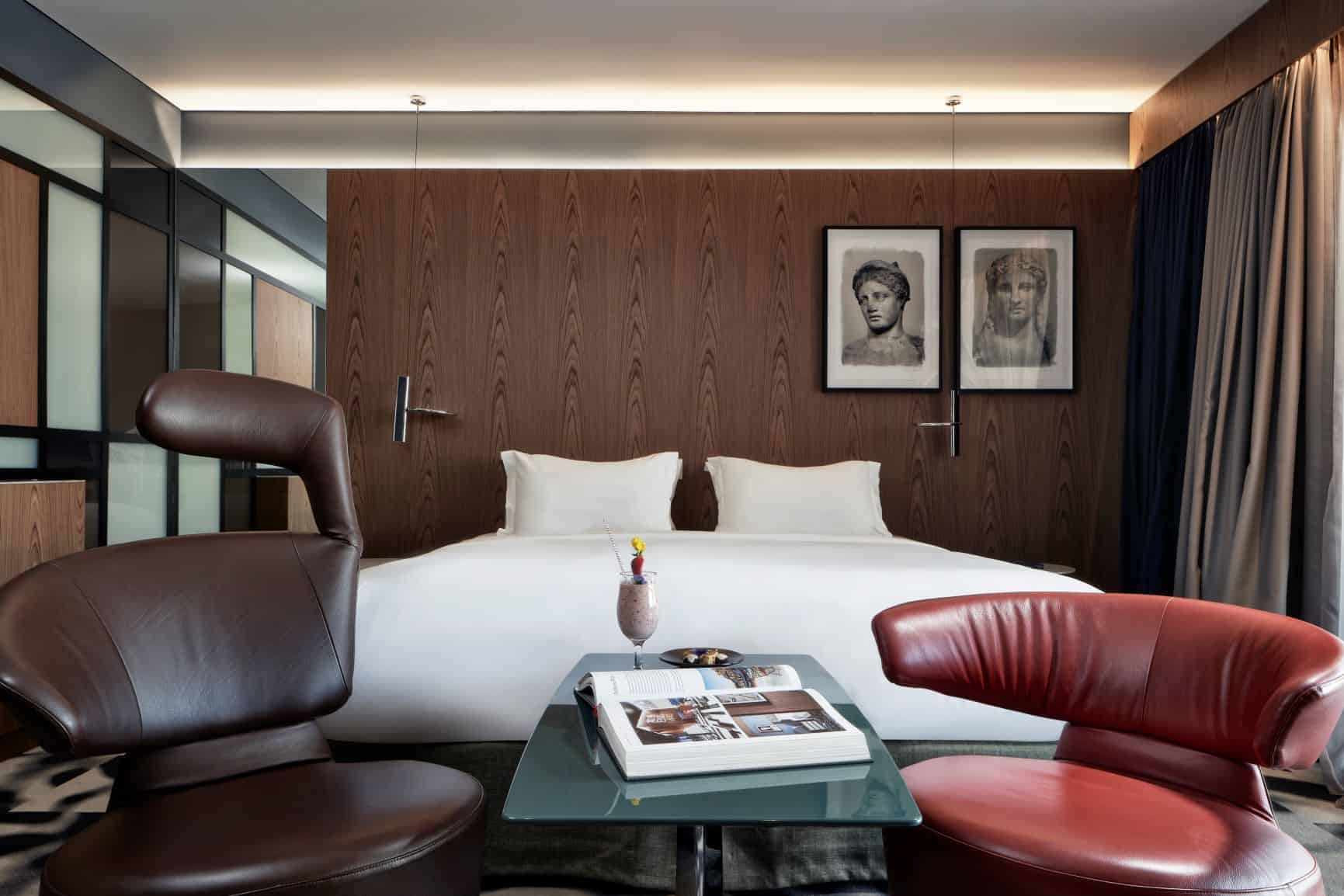 Rooms and suites at AthensWas are spacious and boast stylish, contemporary furnishings
