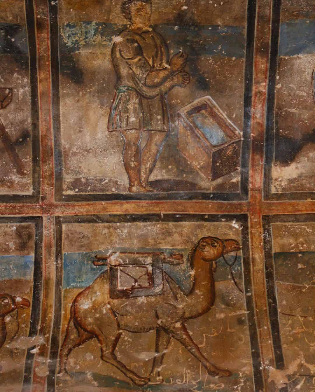Wall paintings inside Qasr Amra