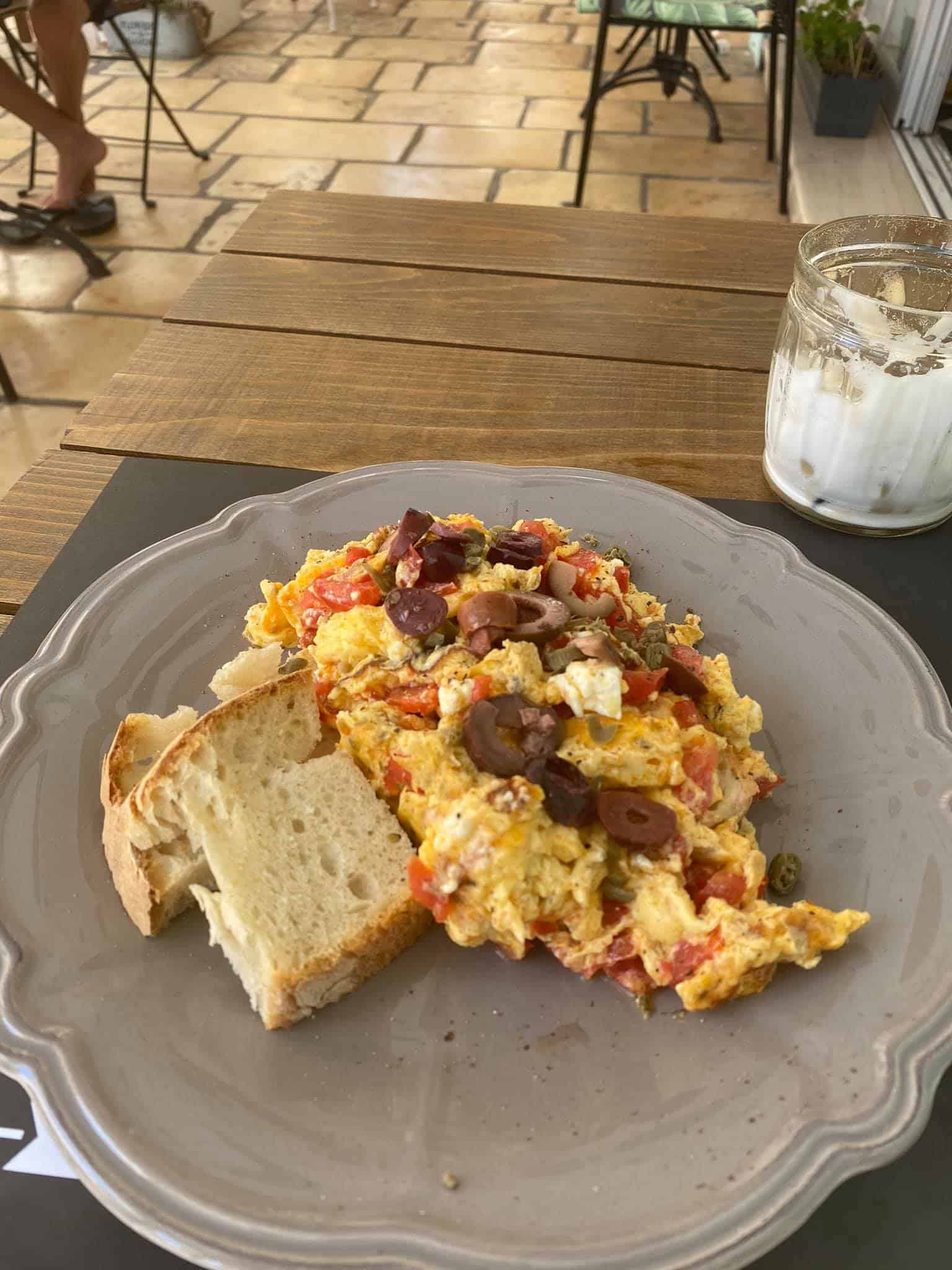 Slow cooked Mediterranean eggs at Fanalino Restaurant, Gaios