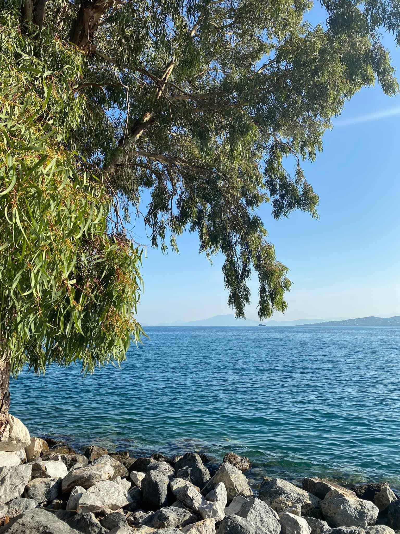 View from Isalos beach bar, Volos, Greece