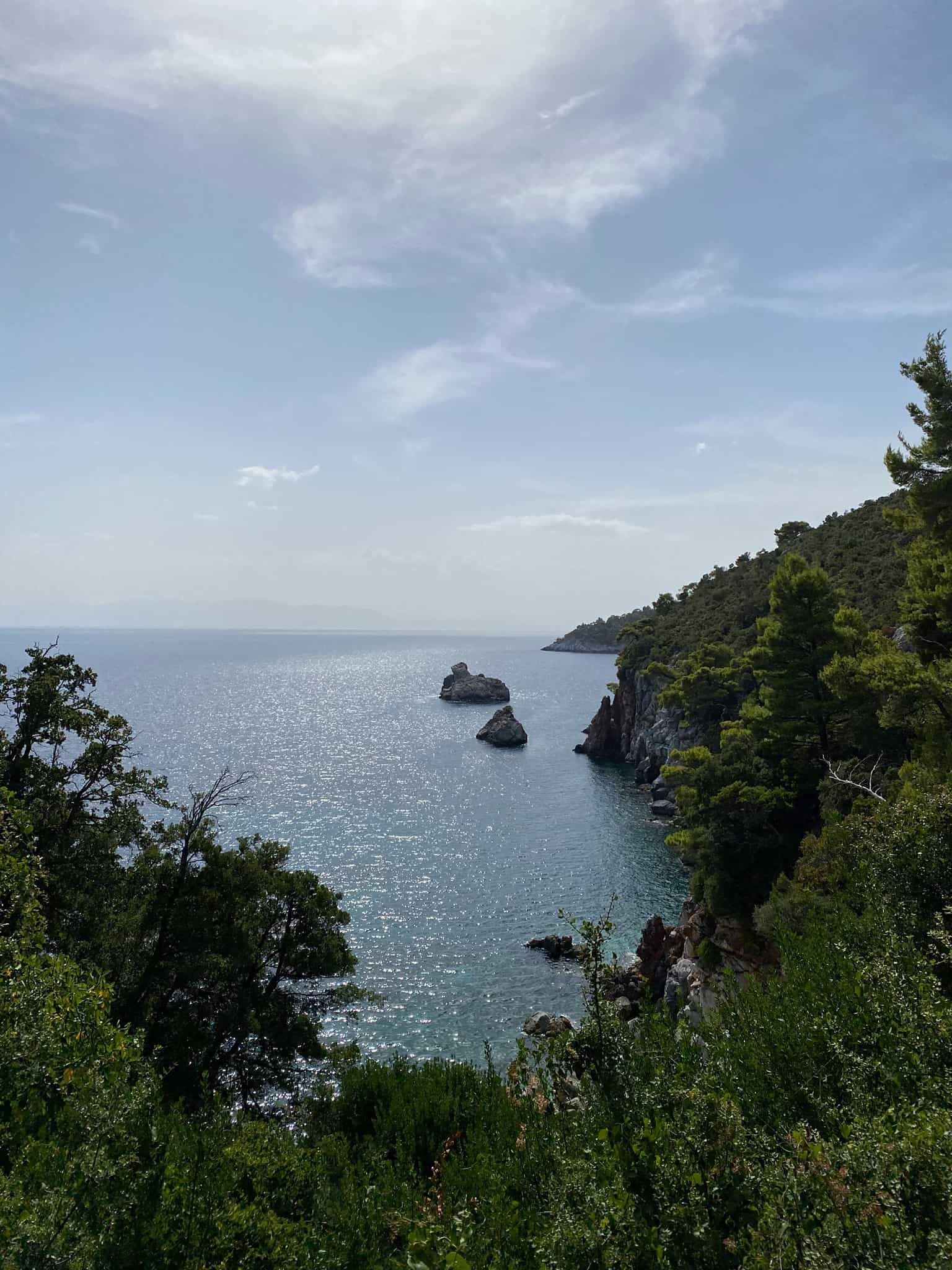 Pleasant views on the walk from Skopelos town to Stafilos and Velanio