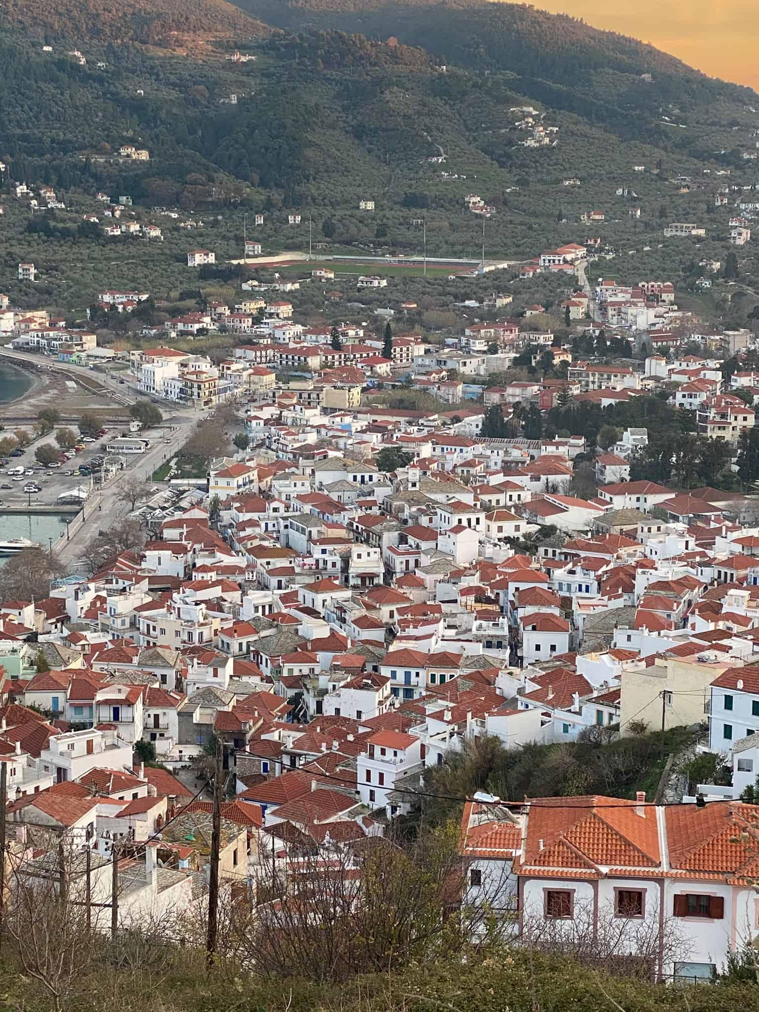 Skopelos town at golden hour
