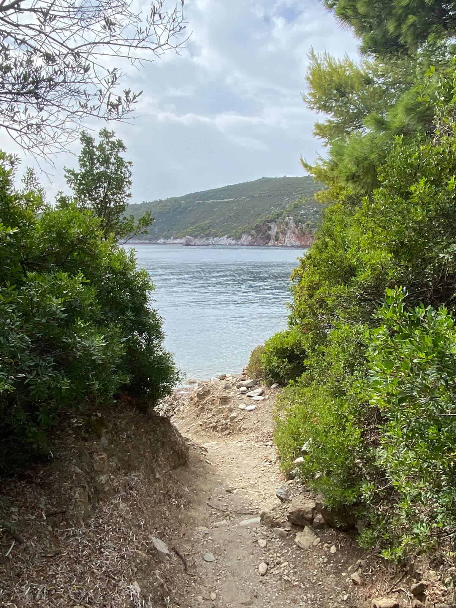 The woodland path connecting Velanio and Stafylos beaches